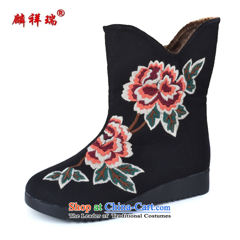 Lun Cheung Shui _LINXIANGRUI_ old Beijing women shoes winter of mesh upper with thick ethnic comfort kit pin embroidered ladies boot leisure flat bottom shoot the lint-freeK-038 black37