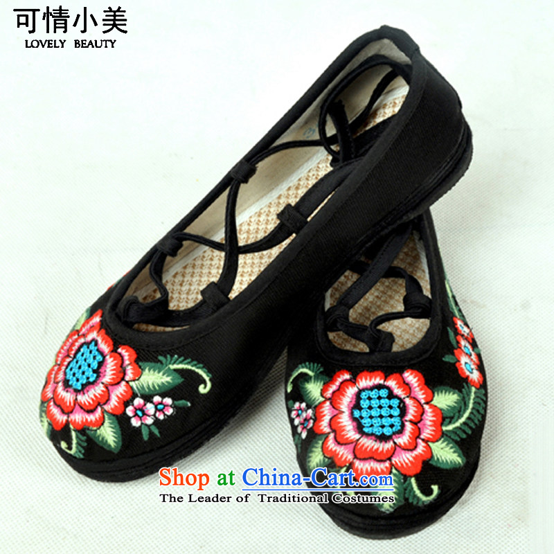 Is small and the old Beijing mesh upper ethnic pure cotton embroidered shoesZCA13 women - 5 black34