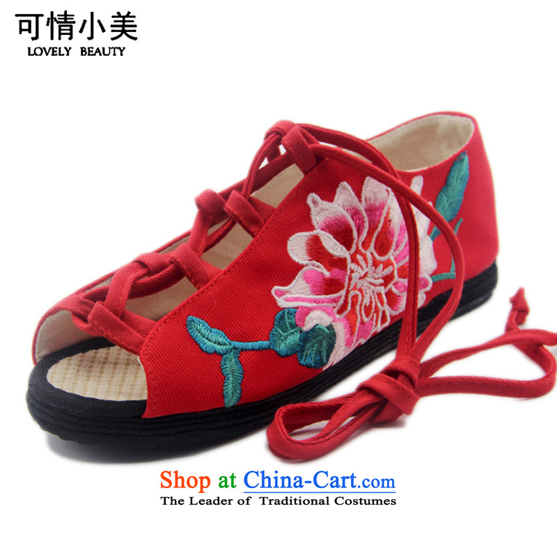 Is small and the old Beijing mesh upper ethnic embroidered with thousands of bottom sandalsZCA015Red37