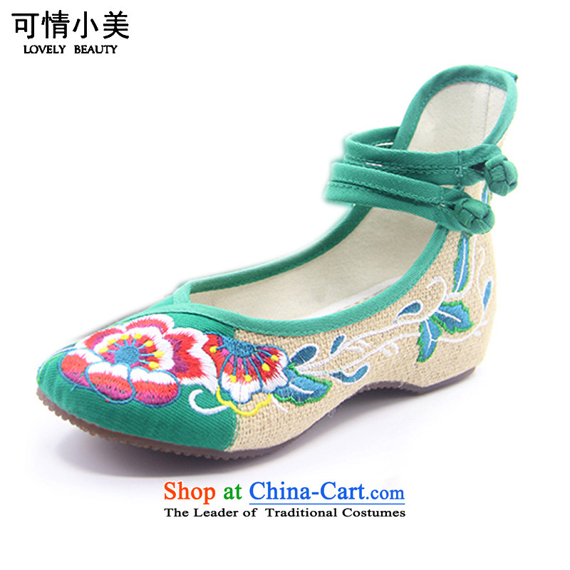 Is small and the ethnic cotton linen anti-slip beef tendon bottom embroidered shoesZCA130Green35