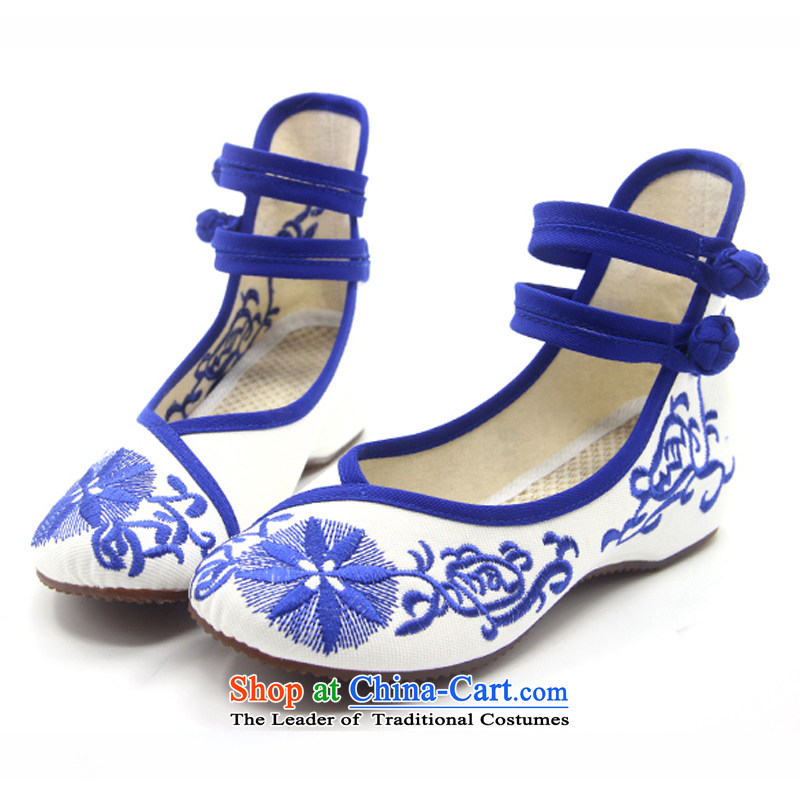 Is small and the ethnic increased within the beef tendon bottom embroidered shoes ZCA131 blue 37, is small-mi (LOVELY BEAUTY , , , shopping on the Internet
