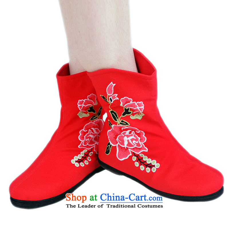 Is small and the old Beijing mesh upper ethnic Mudan increased within embroidery femaleRed35 H02 ZCA, Boots is small-mi (LOVELY BEAUTY , , , shopping on the Internet