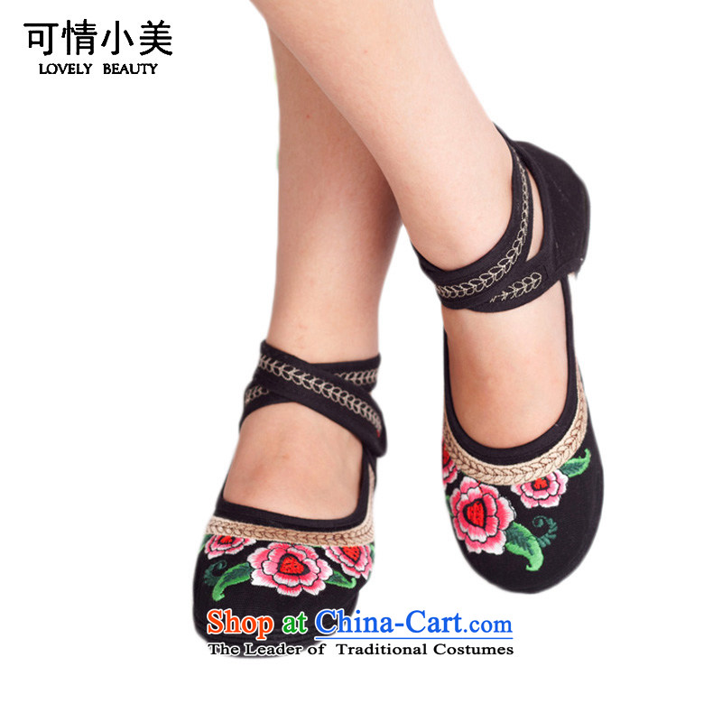 Is small and the old Beijing mesh upper with velcro ethnic embroidery womens single shoeZCA113black40