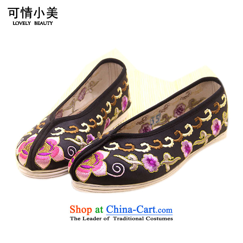 Is small and the old Beijing mesh upper end of thousands of gold satin embroidered shoes ZCA801 ethnic single black 35
