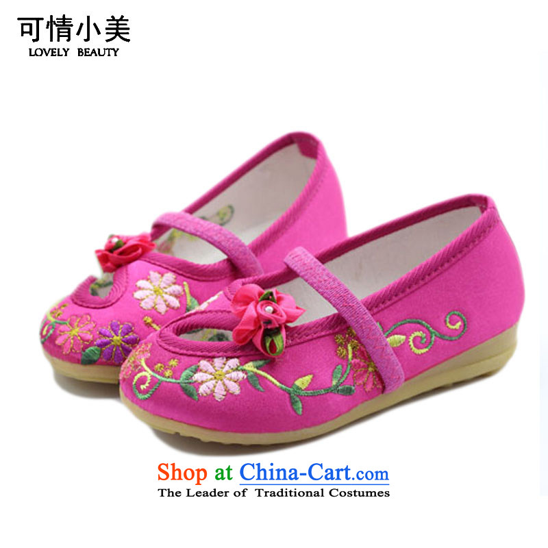 Is small and the old Beijing mesh upper ethnic engraving embroidery children beef tendon bottom Dance ShoeZCA002Cherry Red15