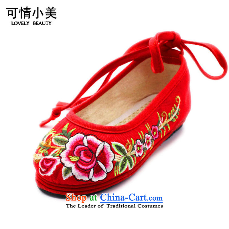 Is small and the old Beijing mesh upper ethnic pure cotton embroidered shoes Children DanceZCA, T01Red18