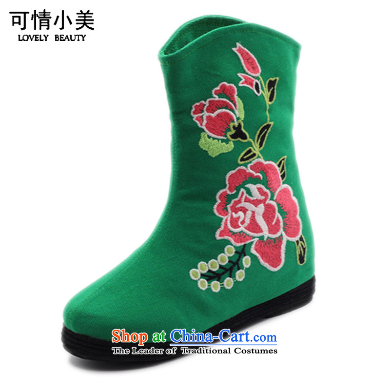 Is small and the old Beijing mesh upper ethnic Mudan increased within embroidery female boots ZCA, H02 Green 36