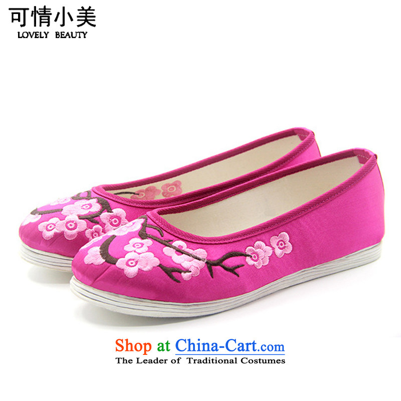 Is small and the old Beijing mesh upper ethnic Phillips-head end of thousands of women embroidered shoes ZCA2038 single Cherry Red 38