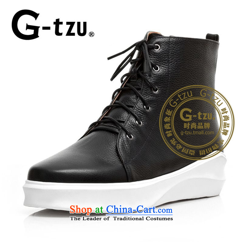 The new 2015 gtzu round head Martin boots flat bottom bootie stylish flat with the girl with a casual women shoes 1854 Black37