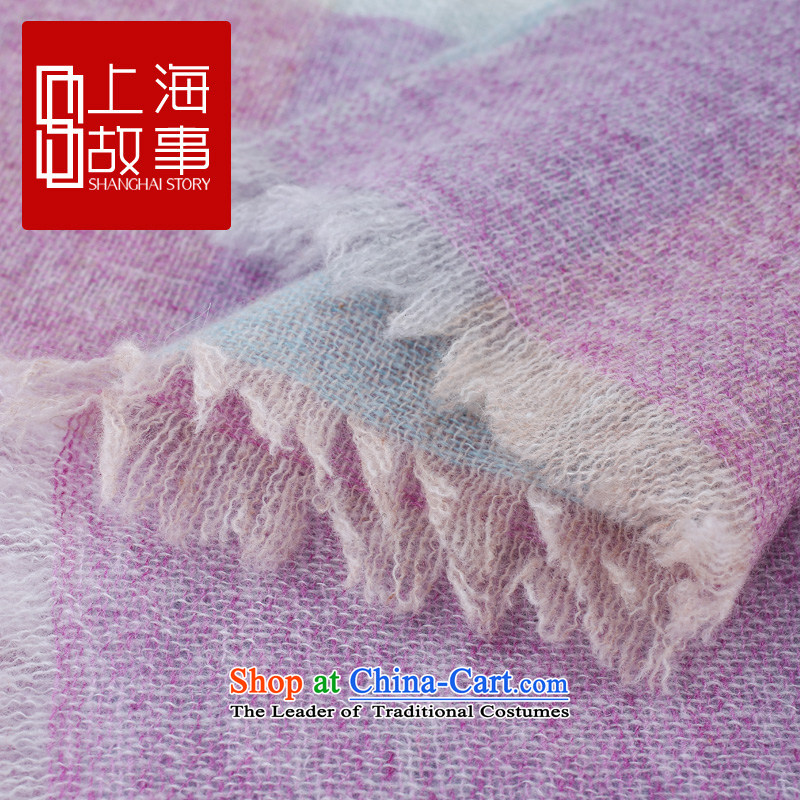 Shanghai Story counters genuine autumn and winter on new stylish /pashmina shawl long wool scarf gentleman grid-type C gentleman grid-type C-blue