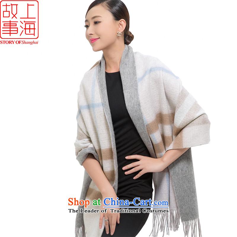 Shanghai Story wooler scarf autumn and winter, solid stylish 3 Hexagon Ball angora wool thick warm Fancy Scarf 176016 duplex latticed Pink
