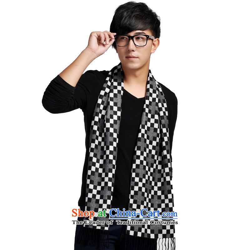 Shanghai Story modern English Wind Square grid Domino men scarf jd166121 black and white