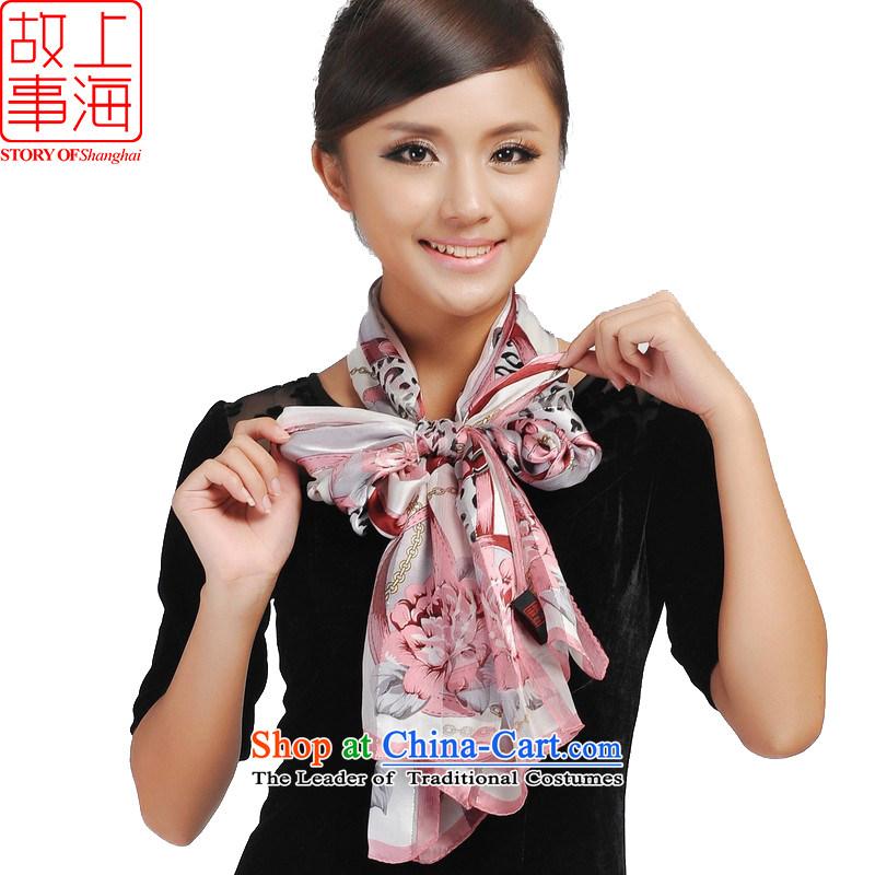 Shanghai Story Leopard chain satin purple mists silk scarfs stylish women silk scarf 175105 rubber red