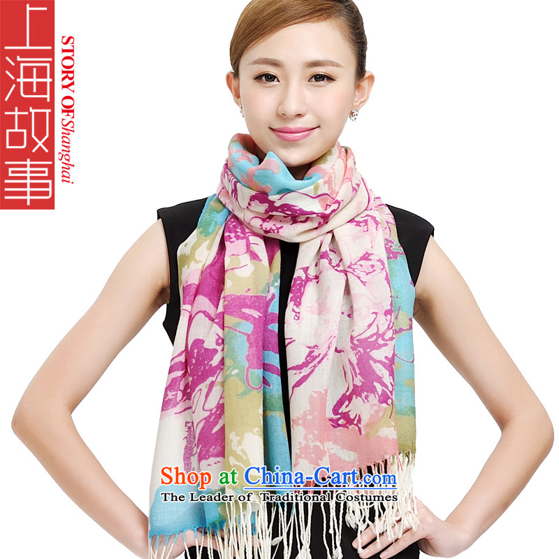 Shanghai Story of autumn and winter Shanghai Qing Yuan happiness tree wooler scarf warm shawl 174044 graffiti art toner Purple