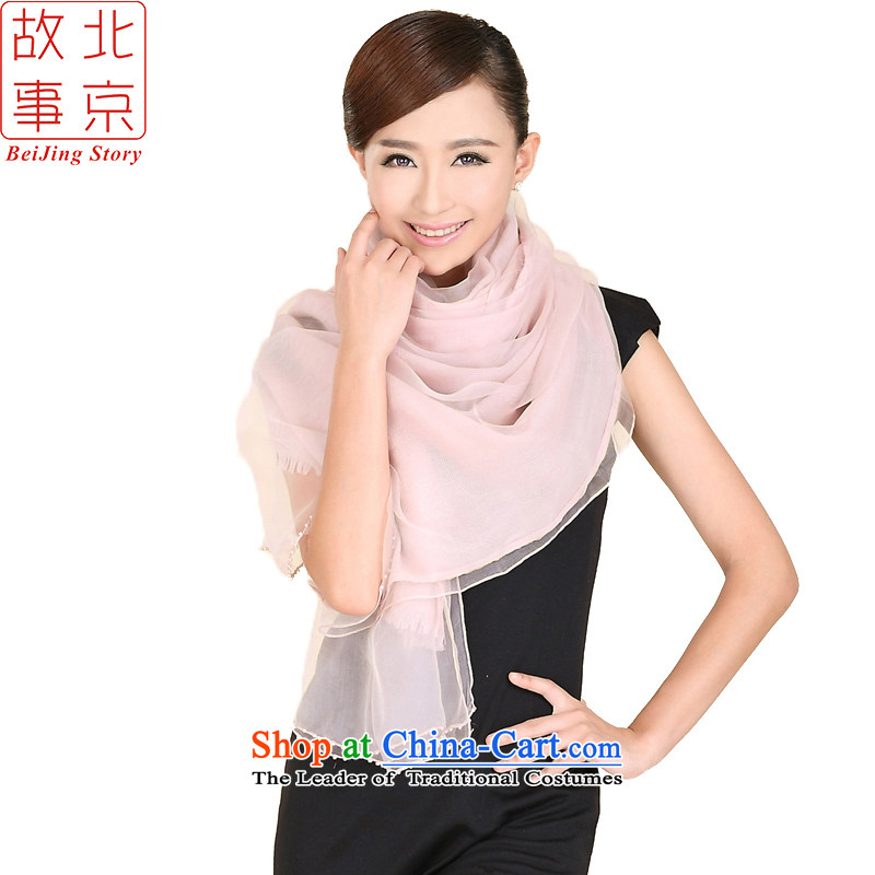 Beijing story autumn and winter new pixel color woolen jacquard silk scarf bunk style pearl booking warm thick large shawl 158060 bare Pink