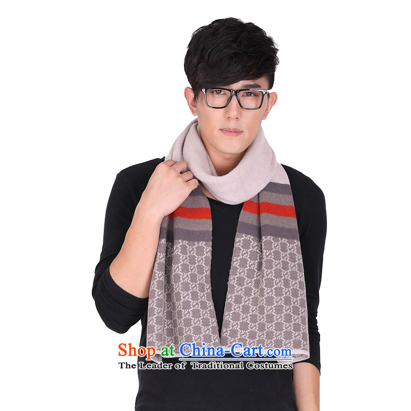 Shanghai Story autumn and winter men new knitting pashmina solid color streaks business English thick wool 158078 warm o beige