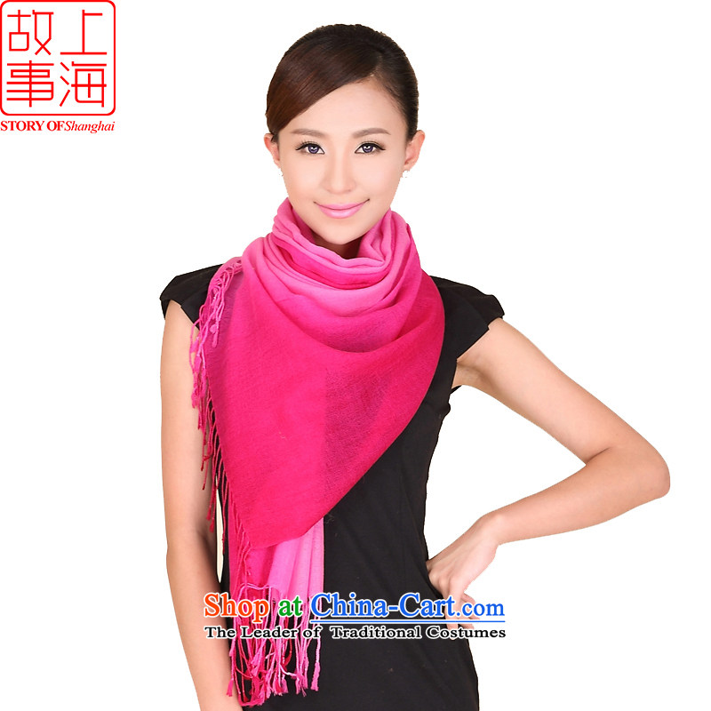 Shanghai Story autumn and winter Ms. new gradient of color 100% wool scarf warm-ups stylish shawl pure color gradient of 193063 a red
