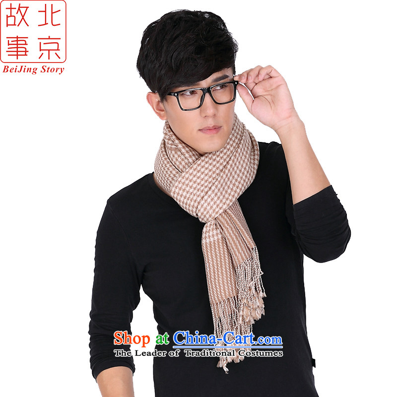 Men and women of the story of the Beijing, 80 small chidori wooler scarf of Korean English style thick wool 194014 a beige