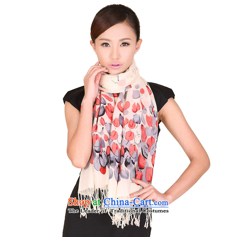 Shanghai Story autumn and winter new tulip stamp wooler scarf warm woolen shawl Ms. Wai Shing 158098 Red