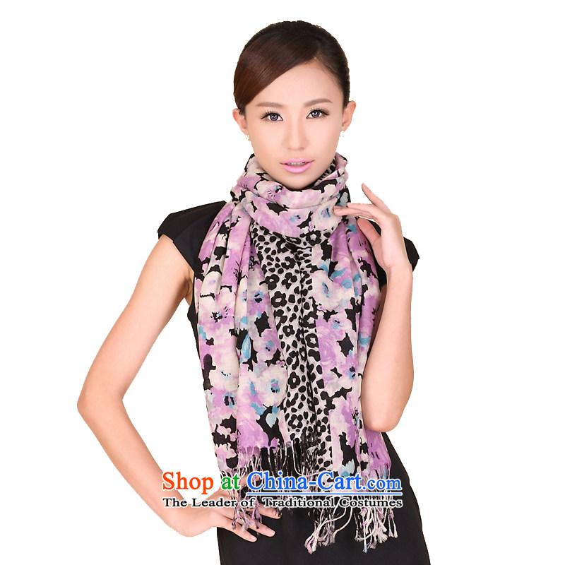 Shanghai Story autumn and winter new Leopard flower wooler scarf women wild woolen shawl 194054 Black Purple