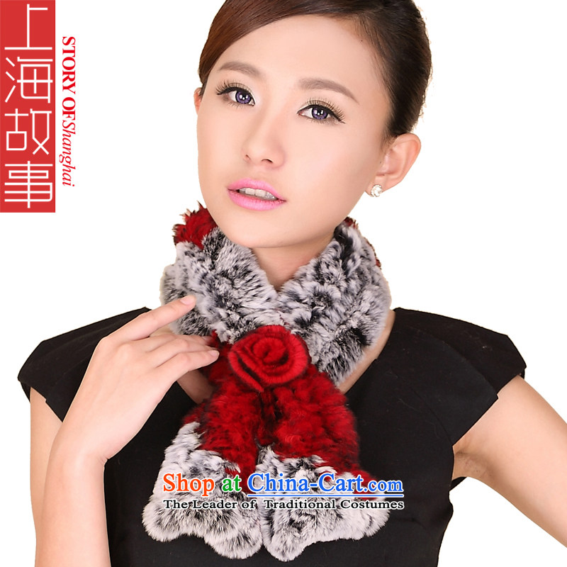 Shanghai Story, a rabbit hair fall and winter Ms. New spell color plaid fur muffler 158091 red and gray colors