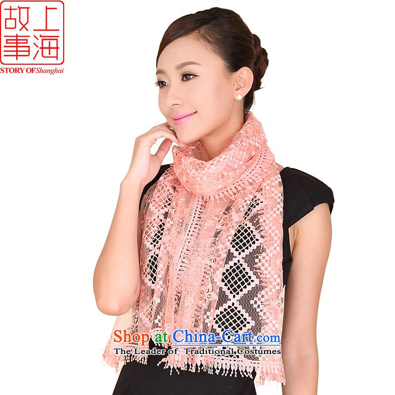 Shanghai Story lace shining bright stylish goddess of the scarf chip wild shawl 158073 Pink