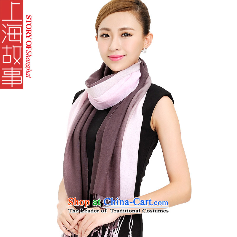 Shanghai Story scarf winter women pure color woolen scarves warm classic of a 100% color woolen shawl 193063 gradient style curry powder color gradient