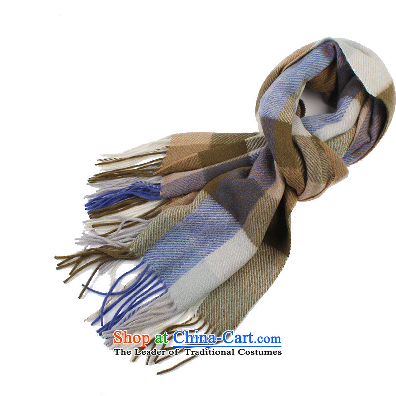 Shanghai Story latticed scarf men Cashmere wool blend yarn for autumn and winter by a聽3_