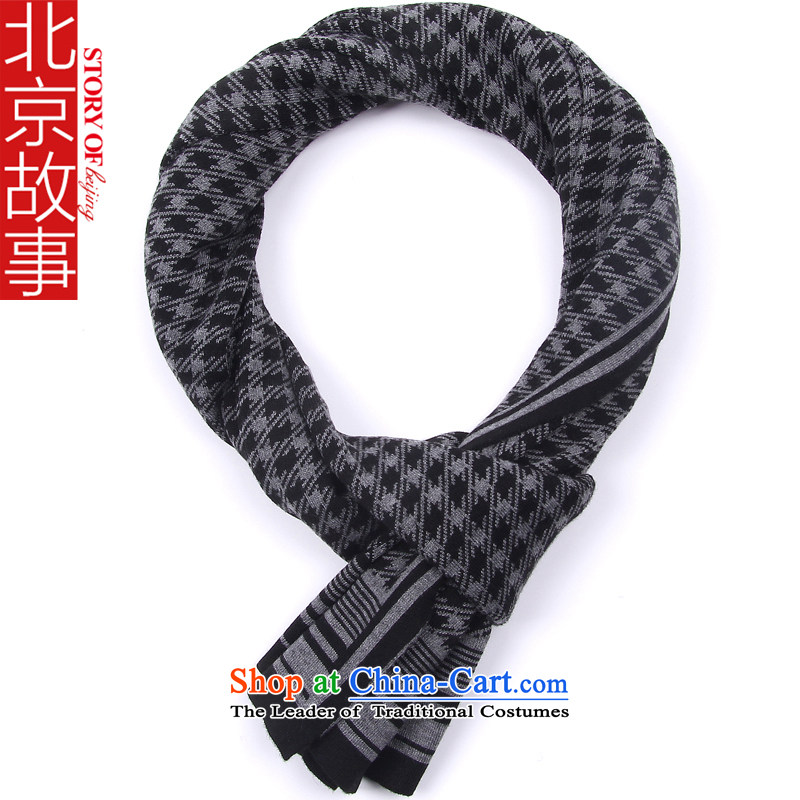 Beijing story autumn and winter new men leisure fleece scarf Plaid England knitted woolen a gentleman 166096 178080 black and gray