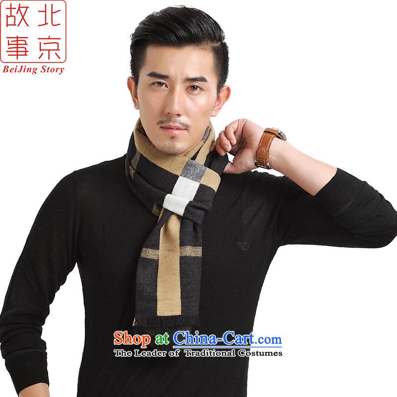 Beijing story autumn and winter men streaks stylish scarf Korean English Plaid gentleman a 167107 warm Winter Sonata lines black beige