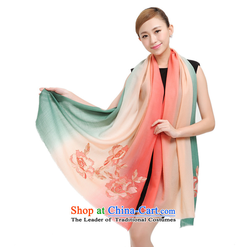 Shanghai Story Shanghai romantic fragrant incense Ms. woolen shawl embroidered manually adding 100% Pure wool  Dance of the scarf 19population red and green