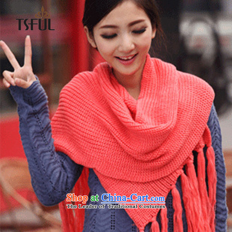 2015 Korean autumn and winter tsful new Thick Long Knitting scarves knitted Beijing Youth warm a watermelon red