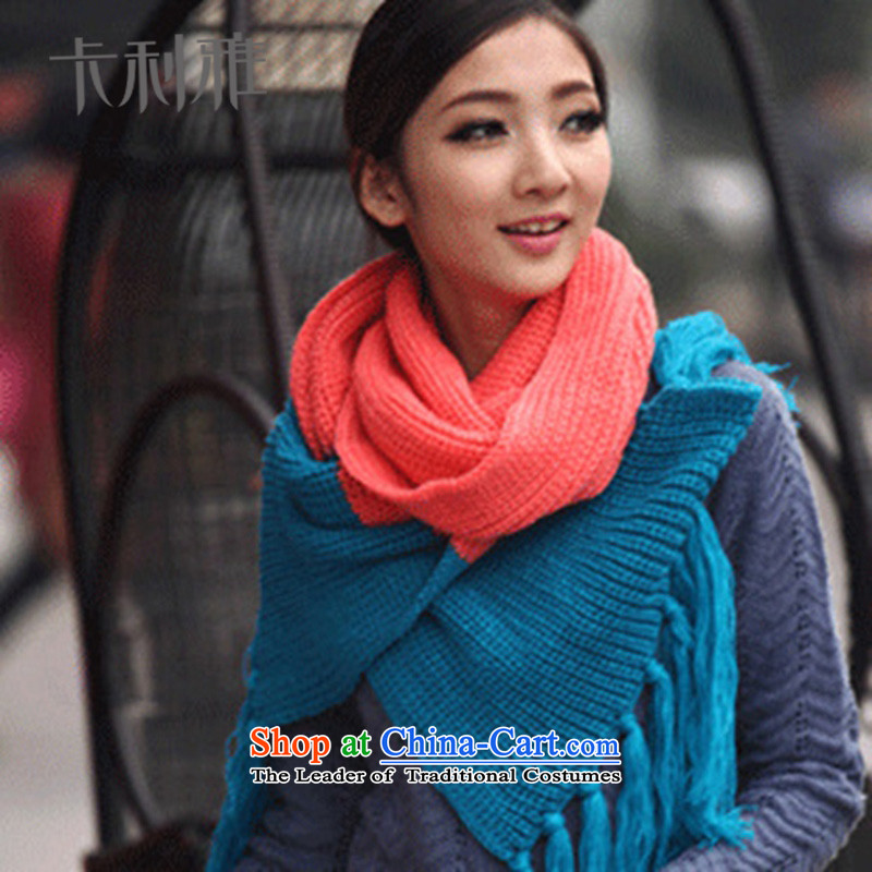 2015 Korean Autumn and Winter Sweater Knit Thick Long Scarf Beijing Youth a warm blue powder