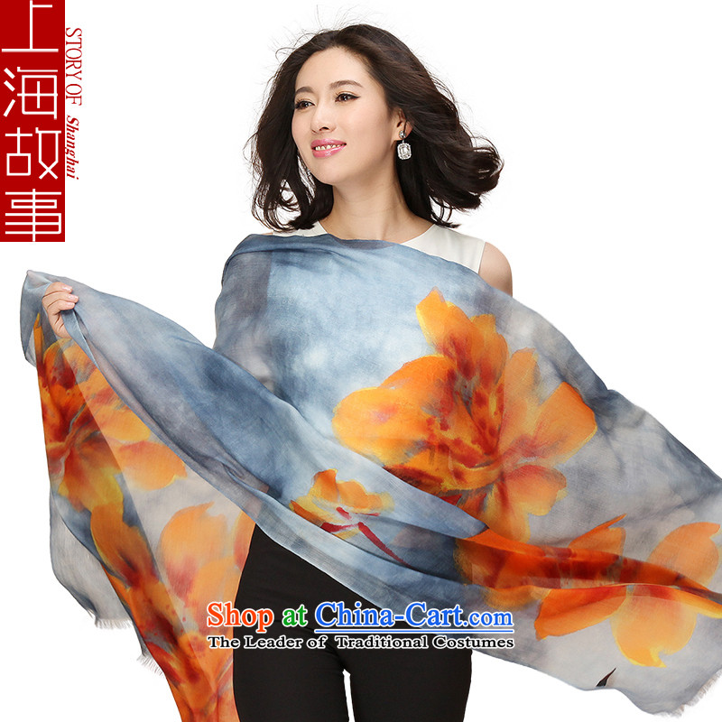 Shanghai Story autumn and winter 200 new products with hand-painted plug Ms. pashmina shawl Peony