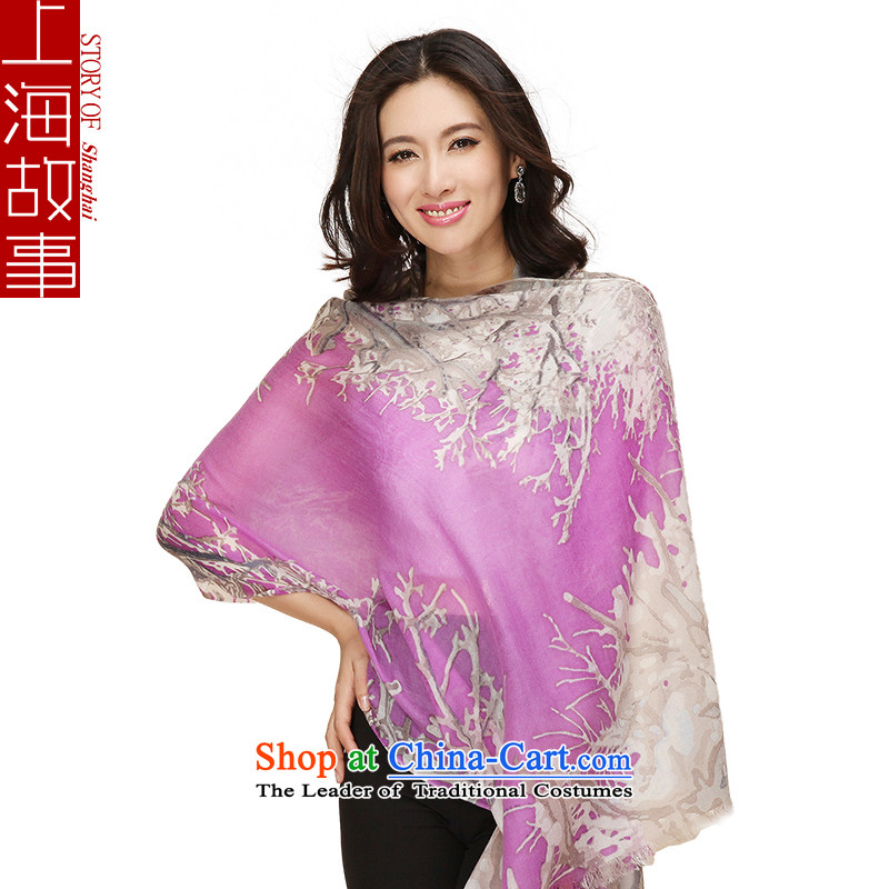 Shanghai Story autumn and winter 200 new products twill stamp pashmina shawl Ms. Shui Suet turned Mauve