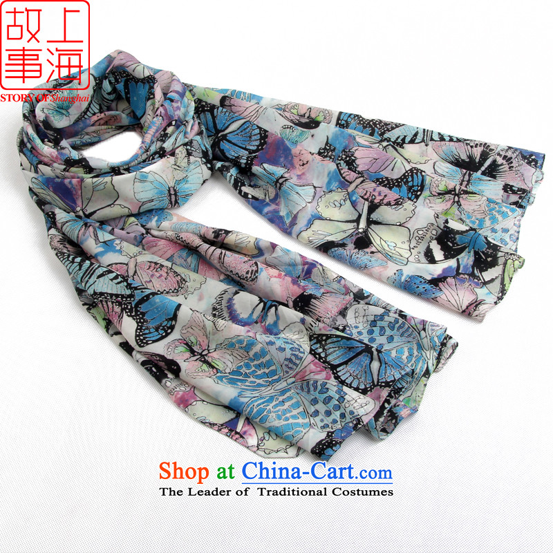 Shanghai Story stylish extralong Voile silk scarfs chiffon sunscreen silk scarf beach towel 166120 Butterfly blue