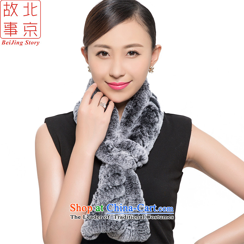 Beijing story, and woolen cravat female autumn and winter new fur a 15063 Gray