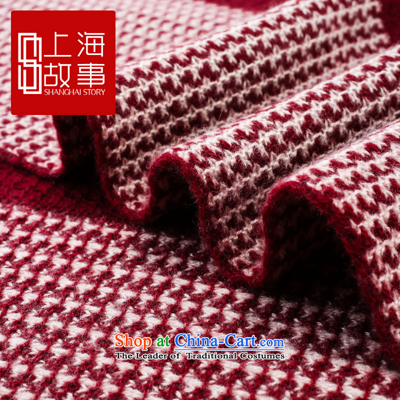 Shanghai Story counters genuine autumn and winter on new stylish cashmere knitted cardigans long wool scarves, cashmere knitted leisure leisure, Cashmere scarf Knitting scarves - Burgundy