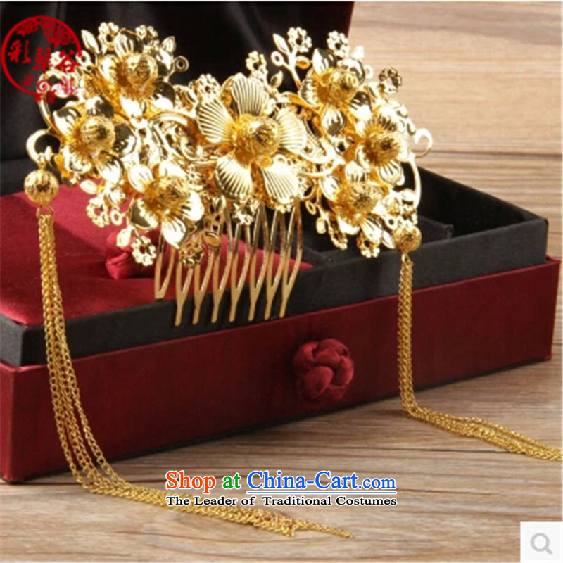 Multimedia verdant valleys costume bride Bong-sam Hui headdress Ancient Costume jewelry from the game by Ornate Kanzashi bride Sau Wo Service Head Ornaments Red golden Gifts