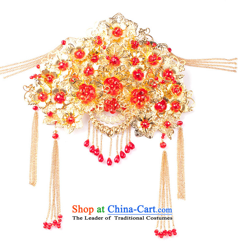 Water _ bridal costume Head Ornaments Flow Su Feng crown for international Chinese qipao-soo marriage Wedding Gifts Wo Service hates makeup and accessories red edging Headdress to earrings gift box