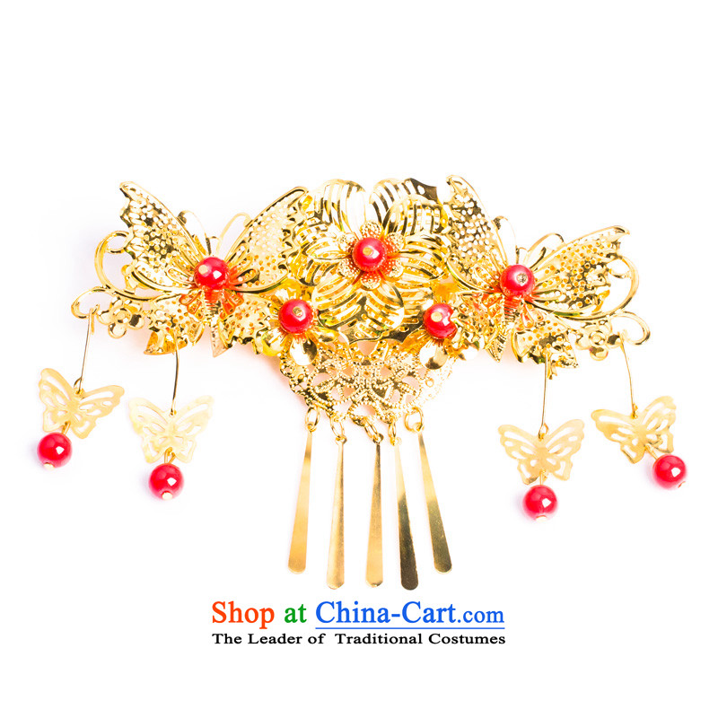 Water _ bridal costume Head Ornaments edging classical Soo Wo Service with ornaments Chinese butterfly hair decorations of a single head-dress up
