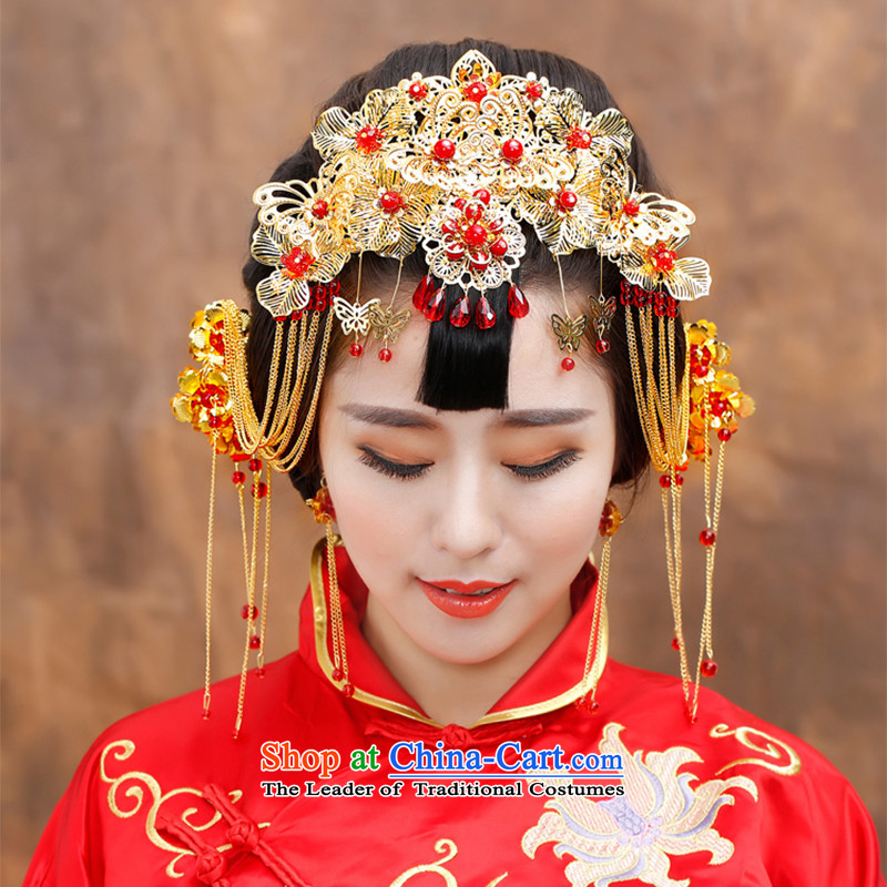Water _ bridal costume Head Ornaments edging CHINESE CHEONGSAM FUNG Sau Wo Service Classic Champion Accessories Red Head Ornaments gift box