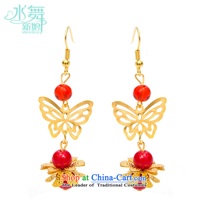 Water & bridal dresses golden earrings butterfly costume marriage ear hook Chinese dragon robe accessories