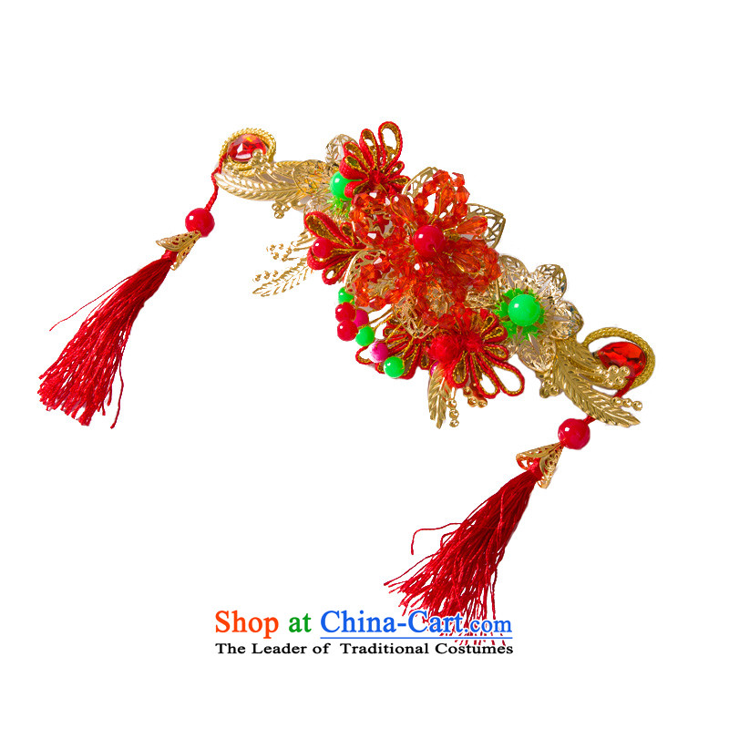 Water & bridal gold red gold leaf flowers hair accessories for Chinese marriage ornaments costume qipao accessories model of 10,511 International Gift Box