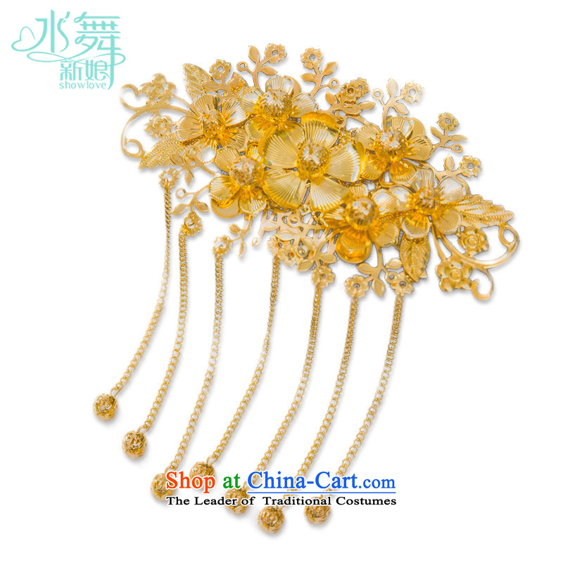Water & bridal Chinese Head Ornaments Gold Stream Su classical costume qipao accessories Soo Wo Service brush gold bag yarn