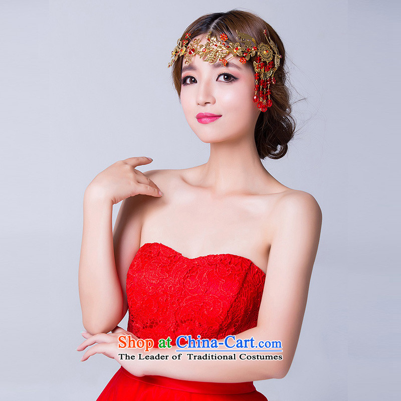 Ancient headdress married mslover accessories retro head-dress ornaments Chinese bride red Head Ornaments TH140935 red soft link head ornaments, name of Lisa (MSLOVER) , , , shopping on the Internet