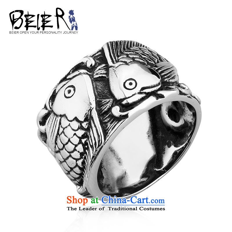 Beier stylishly modern men and women of ethnic Chinese steel retro wide rings titanium embossed fish BR8-257 rings of the country 27# 12#=