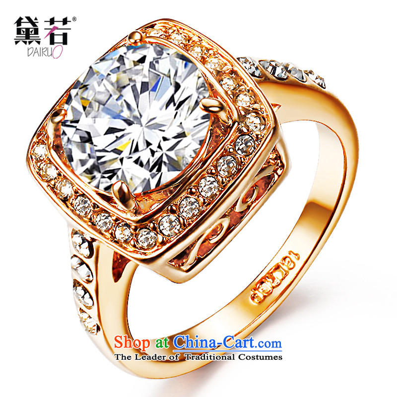 Doi if China new stylish decor of upscale luxury rose gold-plated geometry zirconium drill and drill large index finger rings with ring engraving full drill boudoir honey female couple refers to personalize your gift Ring 15, inside diameter 18mm