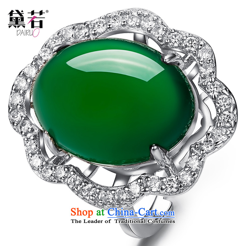 Doi聽925 silver color if Po jeweled rings women China wind natural Chalcedony Dzi live port ring Valentine's Day Gifts jewelry C.O.D. openings free Adjustment Ring Size