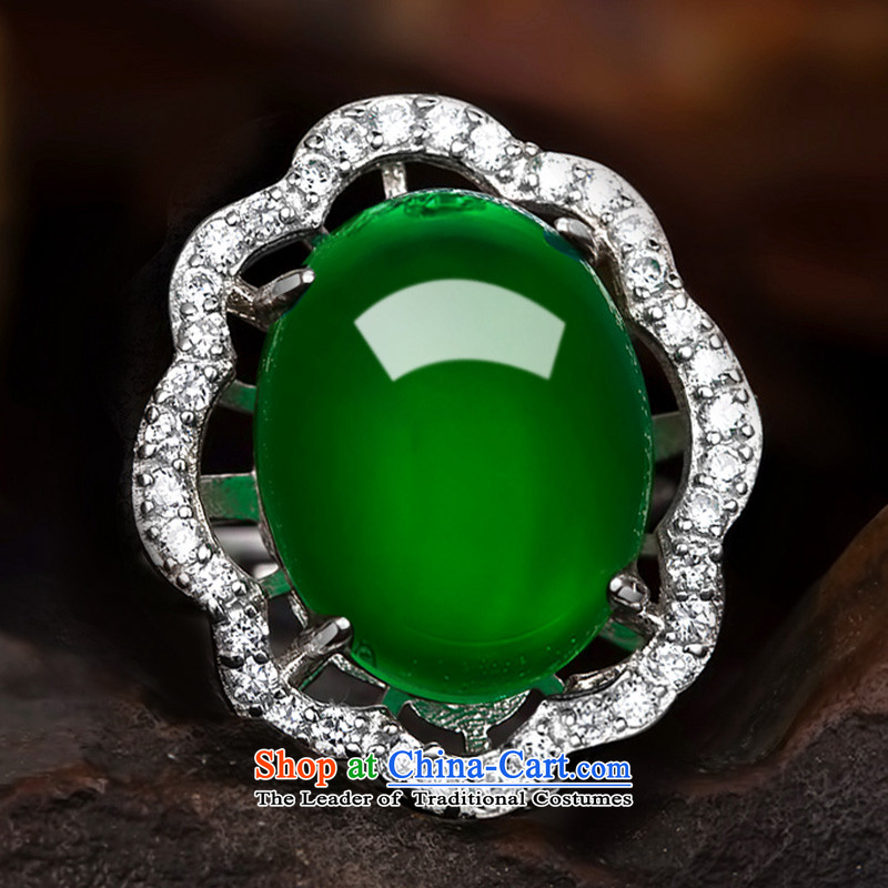 Doi925 silver color if Po jeweled rings women China wind natural Chalcedony Dzi live port ring Valentine's Day Gifts jewelry C.O.D. openings free adjustment ring size, Diana if shopping on the Internet has been pressed.